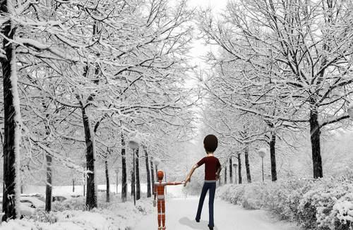 Enes ve kardeşi Kübra Nur bir kış günü gezintiye çıkarlar