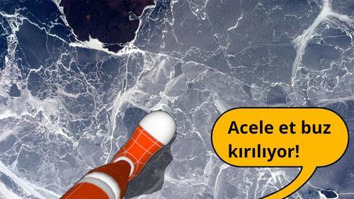 Bu sırada Kübra'nın ayakları altındaki buzda çatırdamaya başlar
