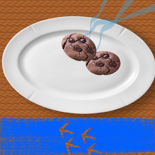 Bir süre sonra kurabiyelerden birinin daha eksik olduğunu ve boyalı alanda da bir ayak izi olduğunu fark eder